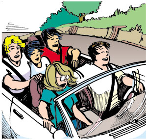 Elizabeth and friends riding in a convertible.