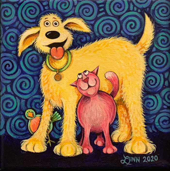A yellow dog, a pink cat and a bird