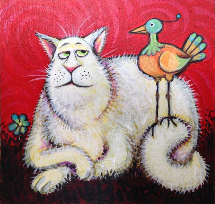 Cat with a bird
