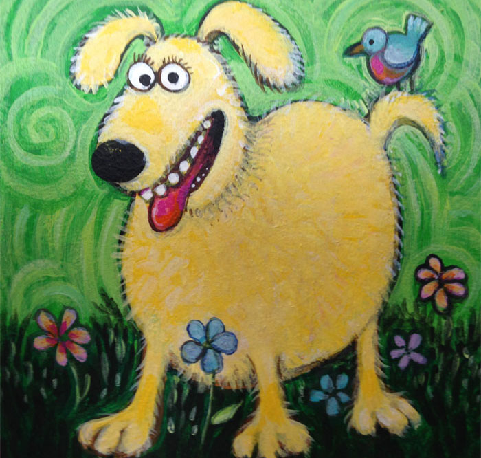Yellow dog with a bird
