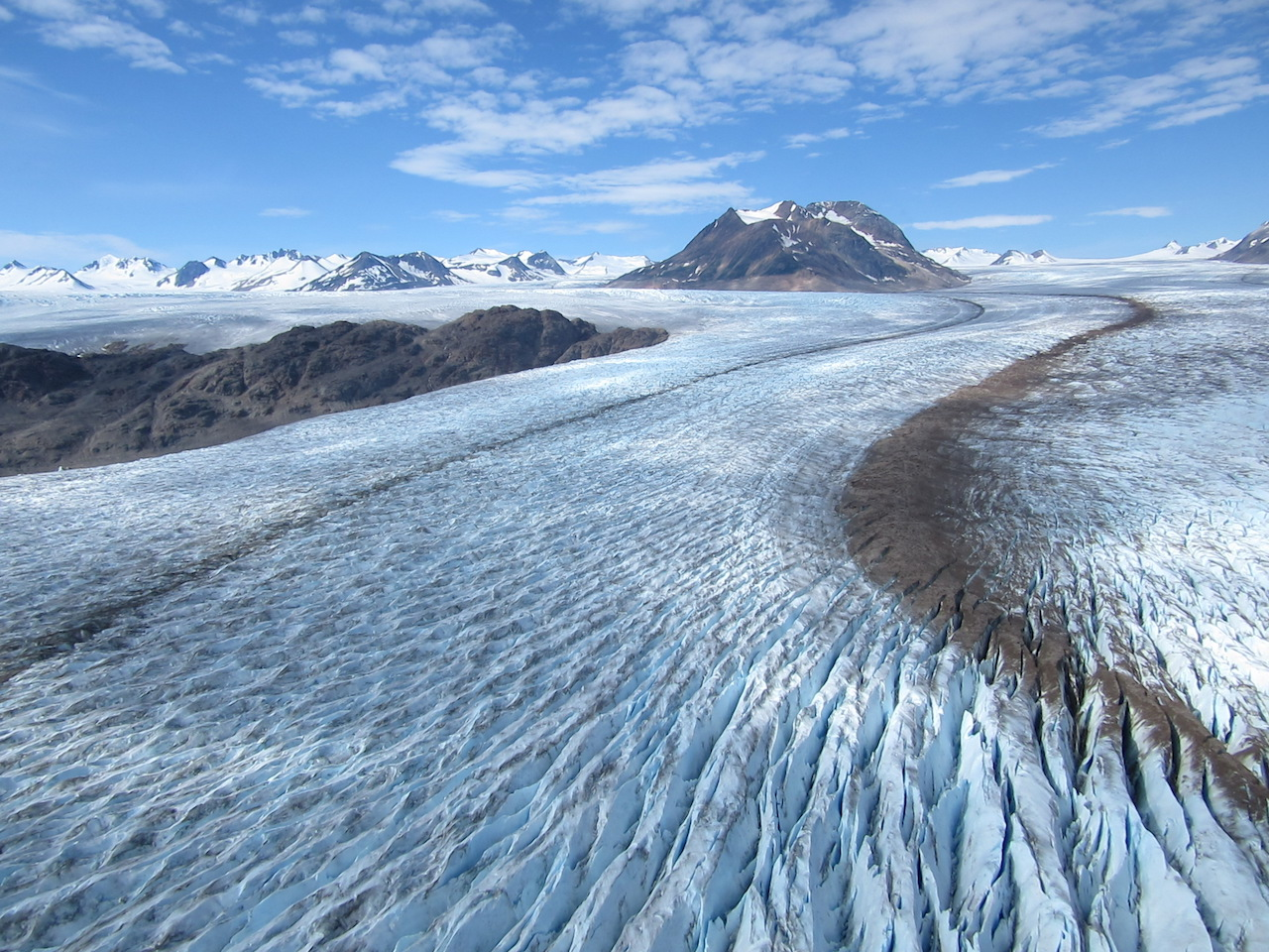 Aerial view of glacial flow.