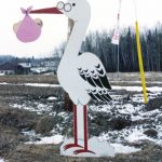 A stork cutout in Lynn's driveway
